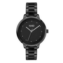 HUGO Ladies #ACHIEVE Black Plated Watch