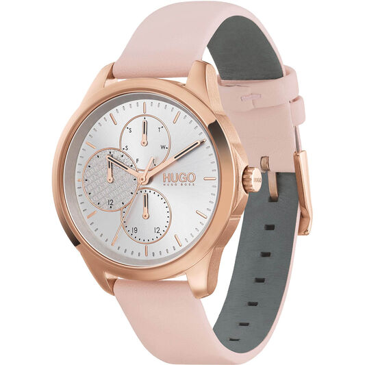 HUGO Ladies #Fearless Pink Leather Watch