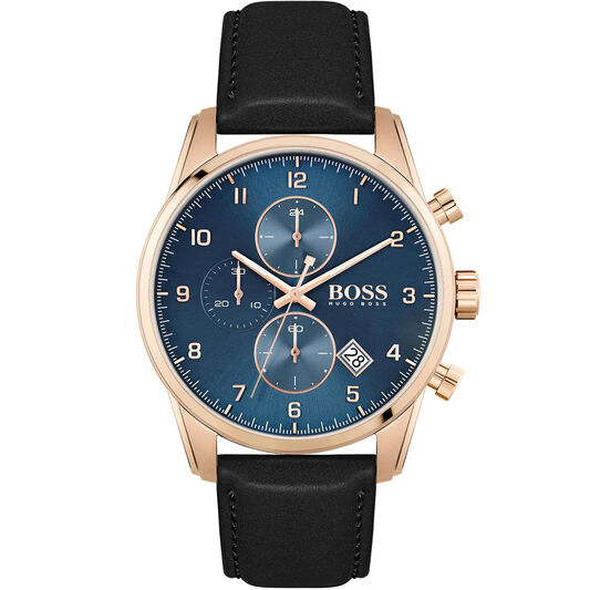 BOSS Men's Skymaster Black Leather Watch