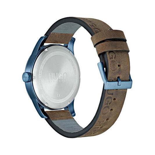 HUGO Men's #DISCOVER Brown Leather Watch