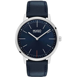 HUGO Unisex #EXIST Navy Leather Watch