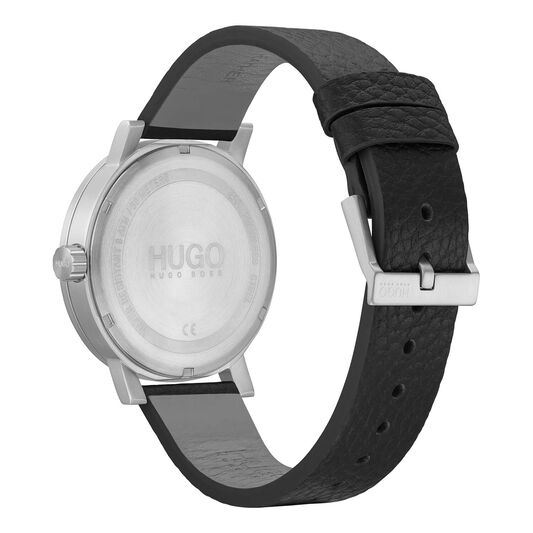 HUGO Men's #RASE Black Leather Watch