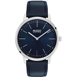 HUGO Unisex #EXIST Navy Leather Watch