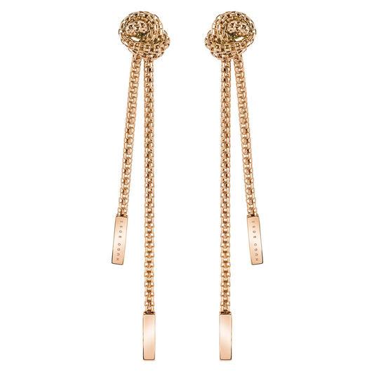 BOSS Ladies Rosette Carnation Gold Earrings