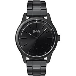 HUGO Men's #DARE Black Plated Watch