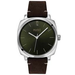 HUGO Men's #OWN Brown Leather Watch