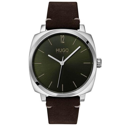 HUGO Men's #OWN Brown Leather Watch