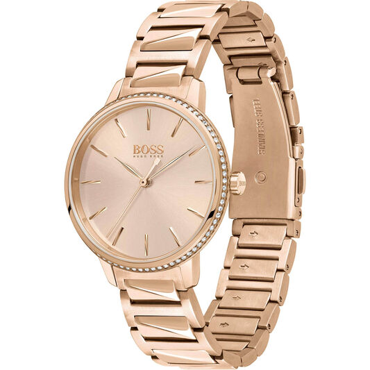 BOSS Ladies Signature Carnation Gold Plated Watch