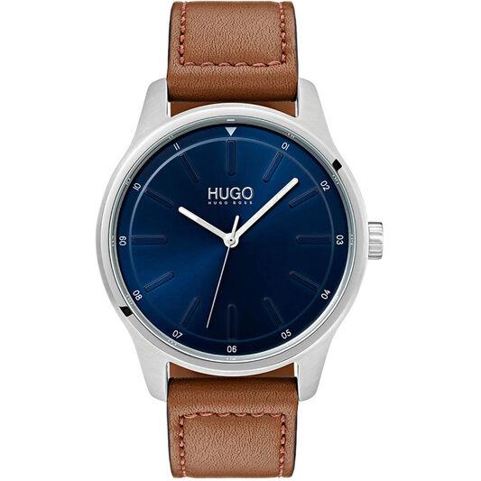 HUGO Men's #DARE Brown Leather Watch