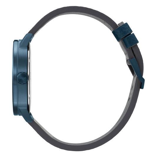 HUGO Men's #RASE Blue Leather Watch