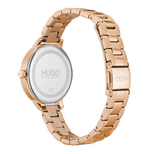 HUGO Ladies #ACHIEVE Carnation Gold Plated Watch