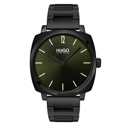 HUGO Men's #OWN Black Plated Watch