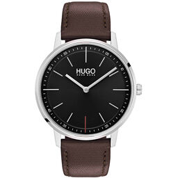 HUGO Unisex #EXIST Brown Leather Watch