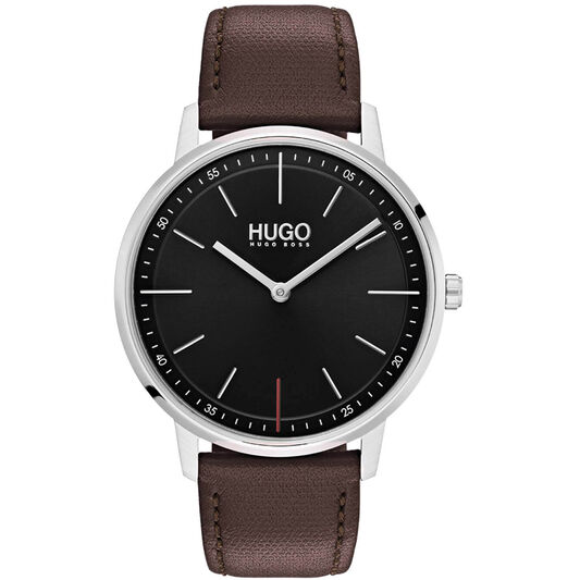 HUGO Unisex #EXIST Brown Leather Watch