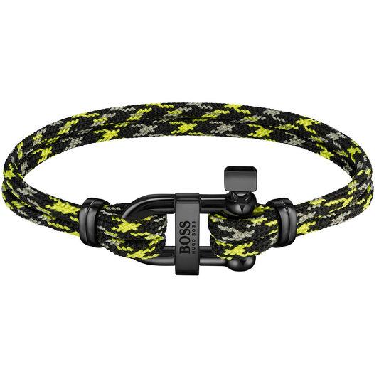 BOSS Men's Sailing Cord Yellow & Black Bracelet