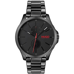 HUGO Men's #JUMP Black Plated Watch