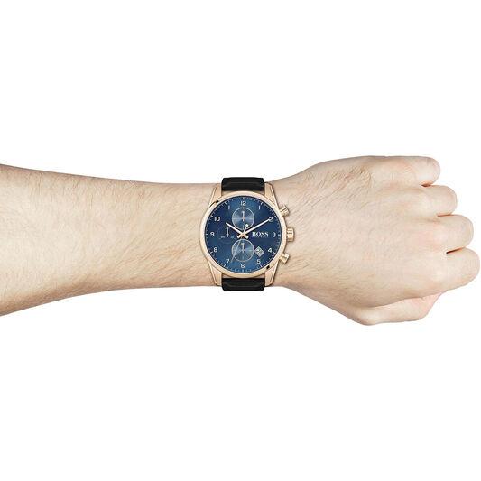 BOSS Men's Skymaster Black Leather Watch