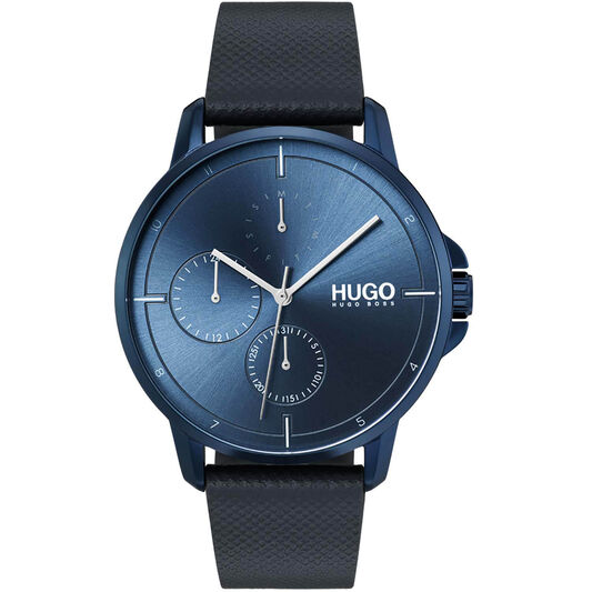 HUGO Men's #FOCUS Blue Leather Watch