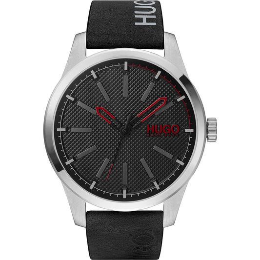 HUGO Men's #Invent Black Leather Watch