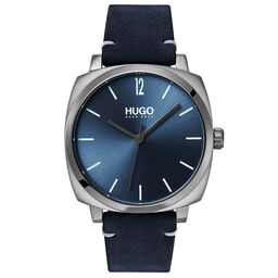HUGO Men's #OWN Blue Leather Watch