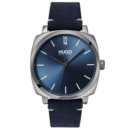 HUGO Men's #OWN Blue Leather Watch