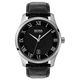 BOSS Men's Master Black Leather Watch