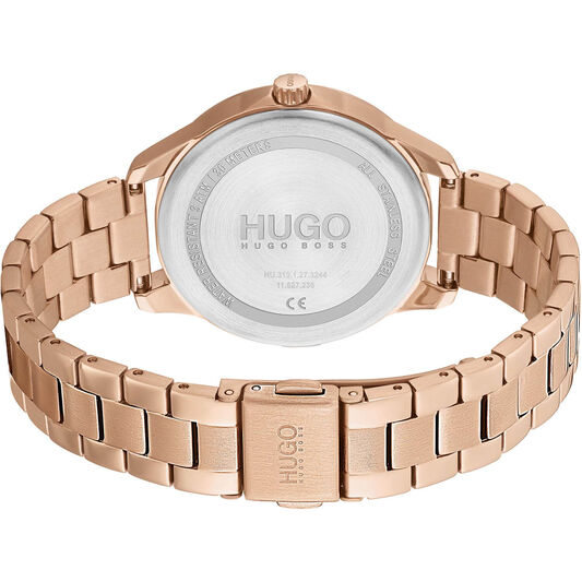 HUGO Ladies #Fearless Carnation Gold Plated Watch