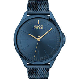 HUGO Men's #Smash Dark Blue Plated Watch