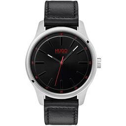 HUGO Men's #DARE Black Leather Watch