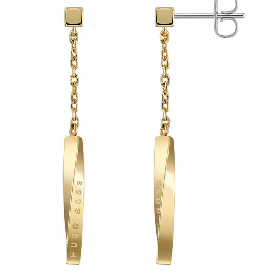 BOSS Ladies Signature Gold Pleated Earrings