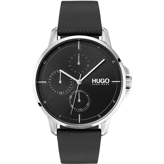 HUGO Men's #FOCUS Black Leather Watch