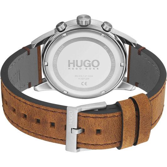 HUGO Men's #Seek Brown Leather Watch