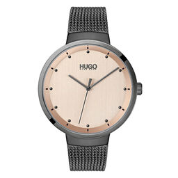 HUGO Ladies #GO Grey Plated Watch