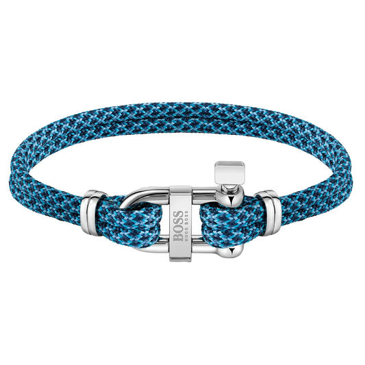 BOSS Men's Sailing Cord Blue Bracelet
