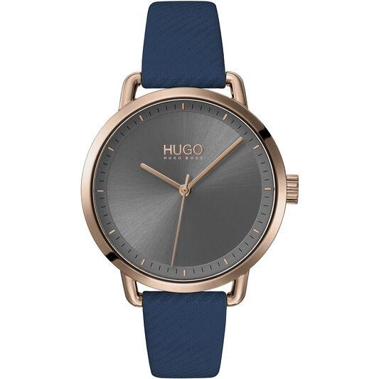 HUGO Ladies #Mellow Blue Leather Watch
