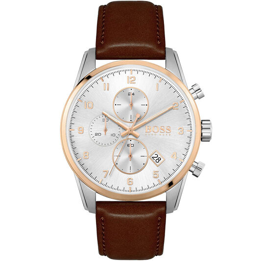 BOSS Men's Skymaster Brown Leather Watch