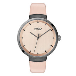 HUGO Ladies #GO Pink Leather Watch
