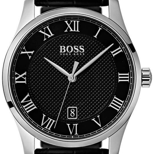 BOSS Men's Master Black Leather Watch